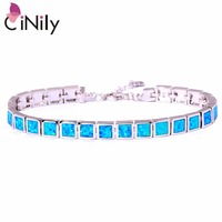 CiNily Created Blue White Pink Fire Opal Silver Plated Wholesale Square Shape for Women Jewelry Chain Bracelet 8 3/4