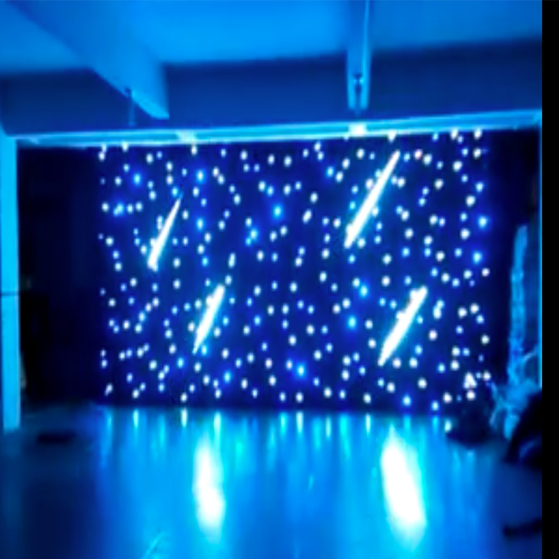 Fireproof Fabric 6m x 4m Black DJ DMX LED Star Cloth Drape with meteor shower effect LED Starlight With Controller Tianxin LEDS drape drape