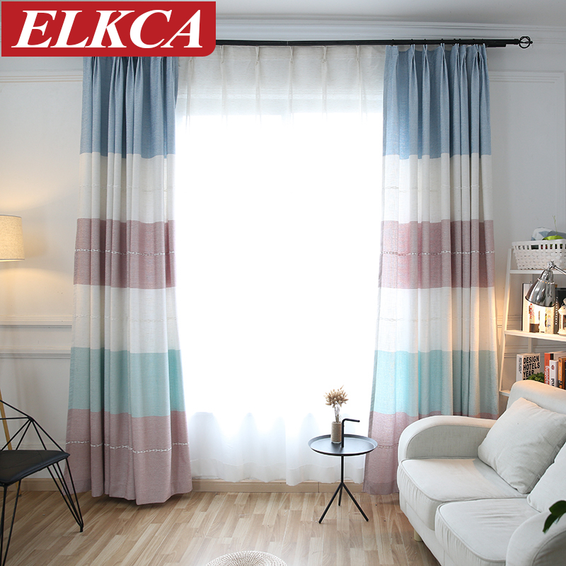 Linen Stripe Kitchen Curtains: Horizontal Stripes Faux Linen Curtains For Living Room