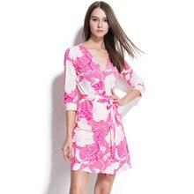 2016 Runway Ladies Slit Pencil Dresses Women V -Neck Cropped Sleeve Print Pink Wrap Dress