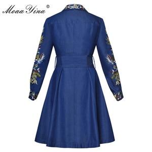 Image 2 - MoaaYina מסלול מעצב אופנה באיכות גבוהה קאובוי מעיל רוח ארוך שרוול רקמת Sashes מקרית בציר קאובוי מעיל