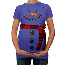 148062bfc84c0 (Ship from US) Trendy Tops of Maternity Clothes for Pregnant Women T-Shirts  Funny Christmas Snowman Print Pregnancy Clothing without scraf#40gy
