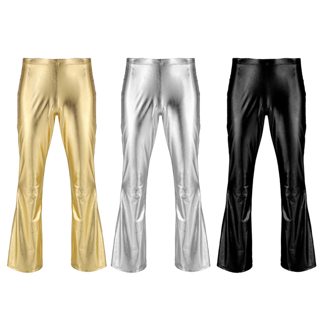 Adult Mens Moto Punk Style Party Pants Shiny Metallic Disco Pants with Bell Bottom Flared Long Pants Dude Costume Trousers 2