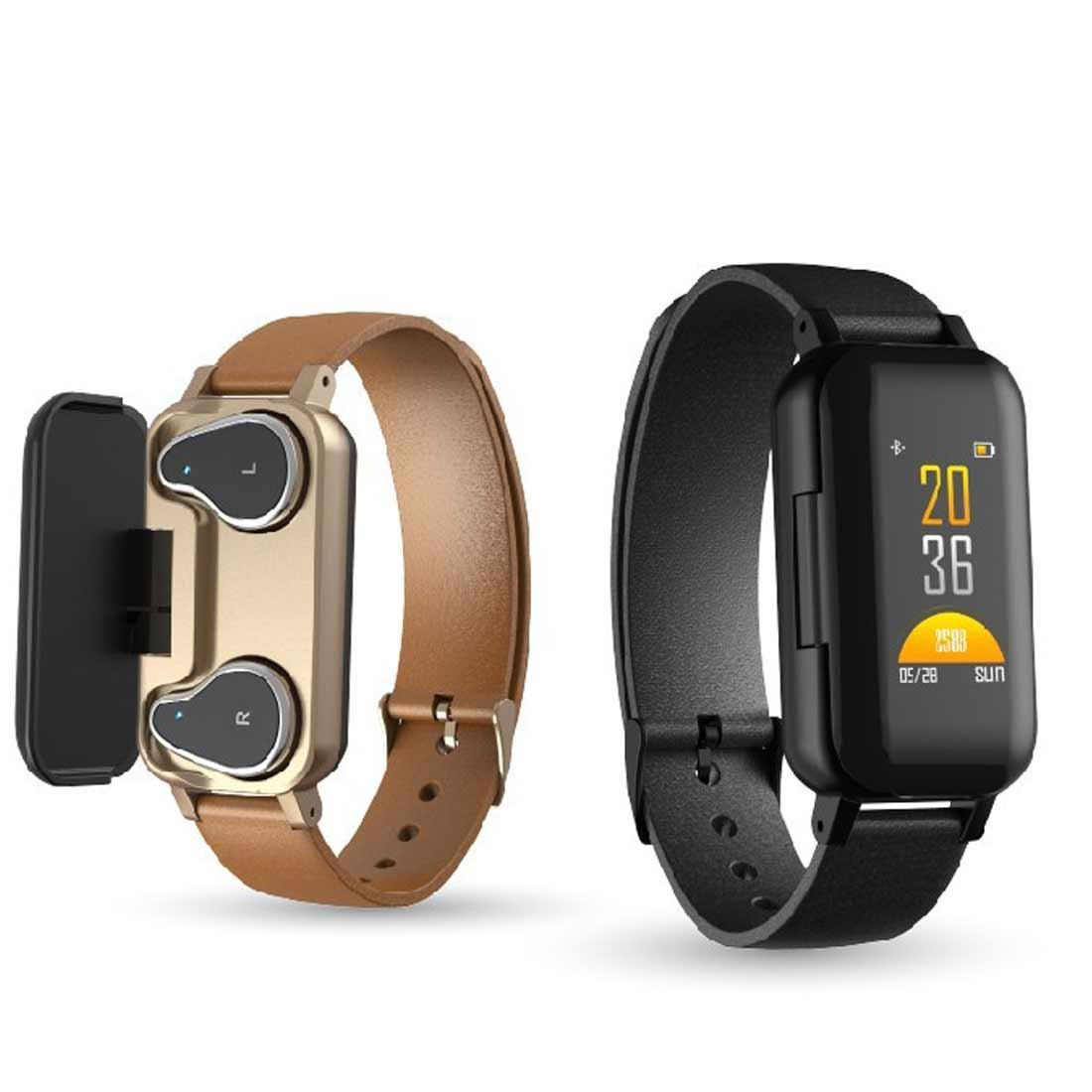 Bracelet Sport intelligent montre hommes femmes moniteur de fréquence cardiaque intelligent Binaural Bluetooth casque Fitness Bracelet