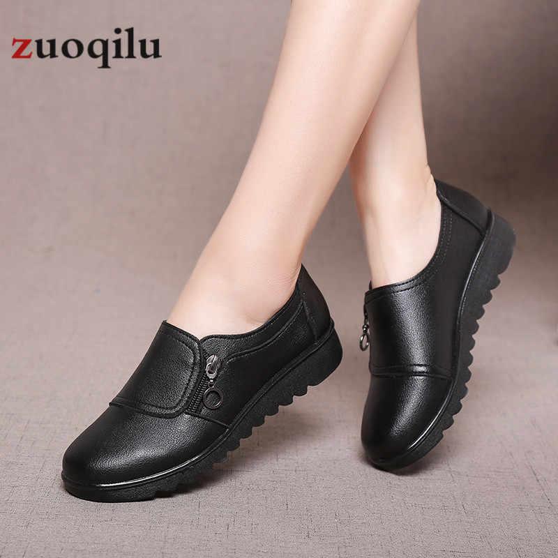 Kadın ayakkabı 2019 kadın flats ayakkabı pu deri platformu düz ayakkabı fermuar kadın rahat ayakkabılar chaussures femme