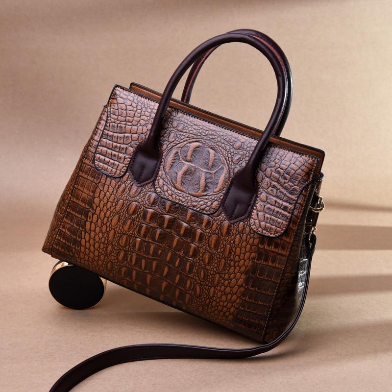 2019 New Vintage Genuine Leather Bag Women Alligator Luxury Handbags Women Bags Designer Crossbody Bags for Women Tote Handbags