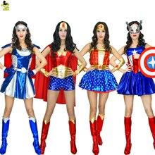 2017 Adulto Supergirl Traje de Super-heróis Mulher Cosplay Thor Amercian Capitão Vingadores Superman Trajes Meninas Vestido de Festa Roupas