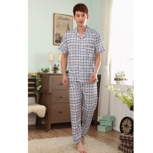 2016 Men's Knitted Plaid Clothes Cotton Home Comfortable Leisure Sleepwear Pajamas Suit