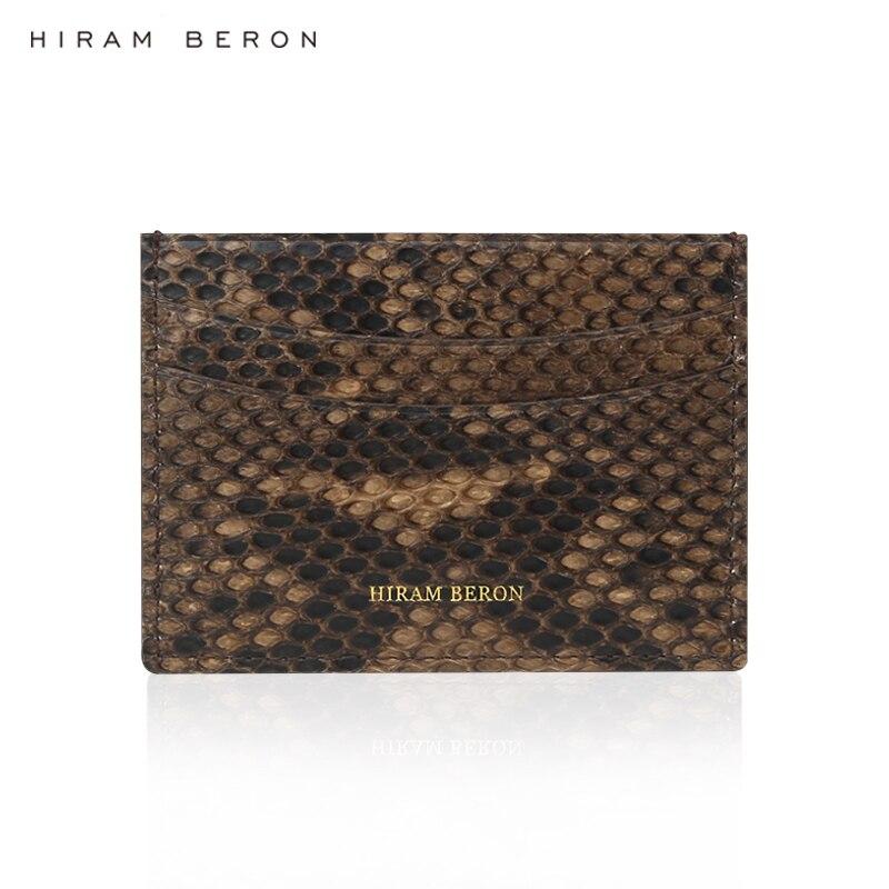 Hiram Beron NOM FAIT SUR COMMANDE LIBRE titulaire de la carte en cuir hommes python en cuir de luxe véritable cadeau en cuir