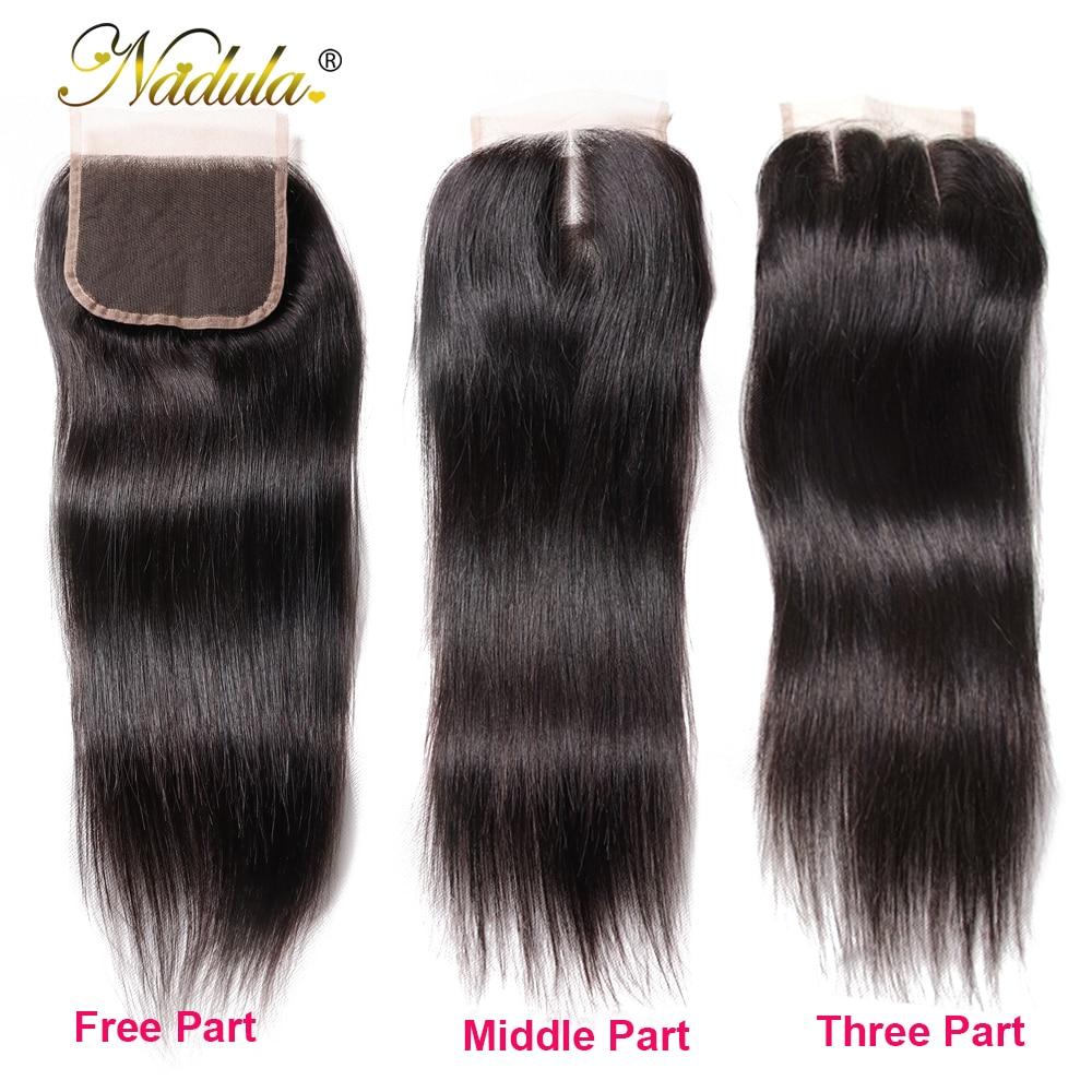 Nadula Hair 3 Bundles With 2Pcs Closures  Straight Hair Bundles With Closure 100%  Bundles With Closure 5