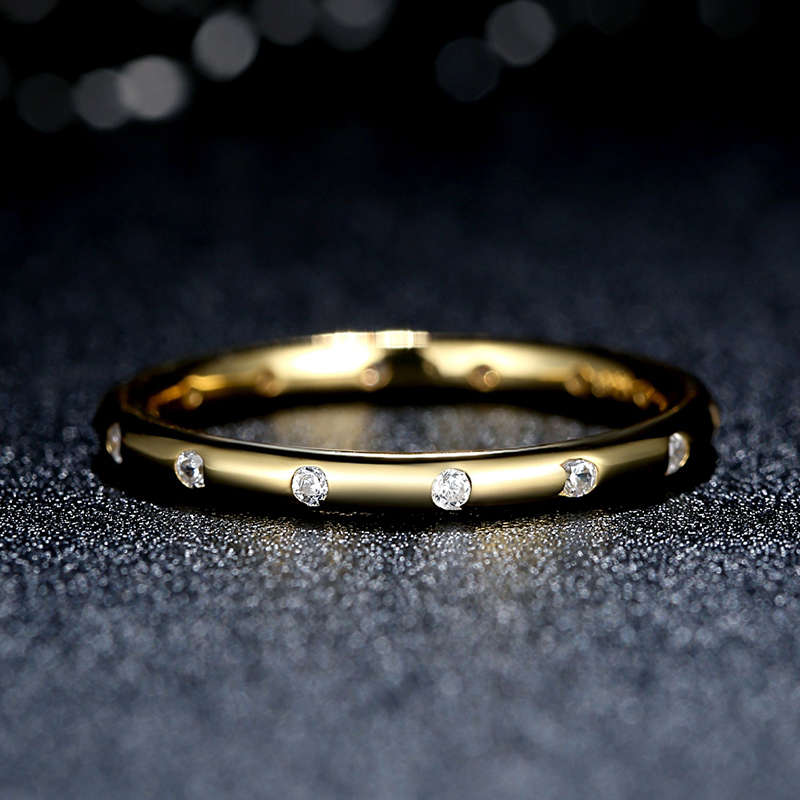 ZMZY Genuine 100% 925 Sterling Silver Droplets Stackable Ring Polished Gold CZ Original Fine Jewelry
