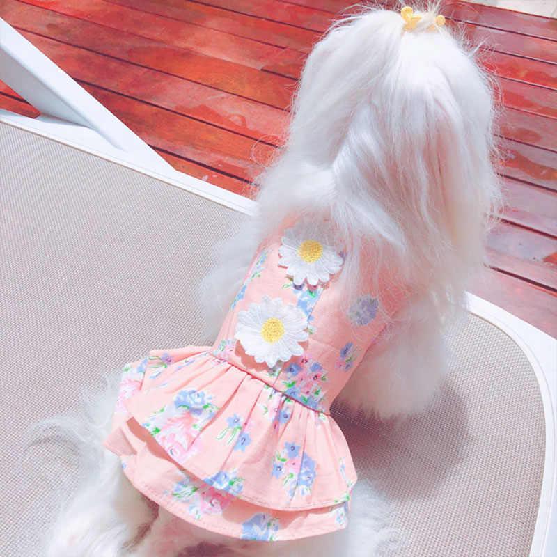 Цветочное платье в стиле принцессы для собаки маленькие собаки платья для собаки Чихуахуа Йоркширский Летний платья для животных свадебное платье щенок кошка одежда