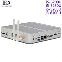 Core i5-6200U/i3-6100U Skylake 14NM Безвентиляторный Mini PC, i5-5250U/5200U Бродуэлла ПРОЦЕССОРА, HTPC, Двойной HDMI, HD Graphics520 4 К HD, Win10, Wi-Fi