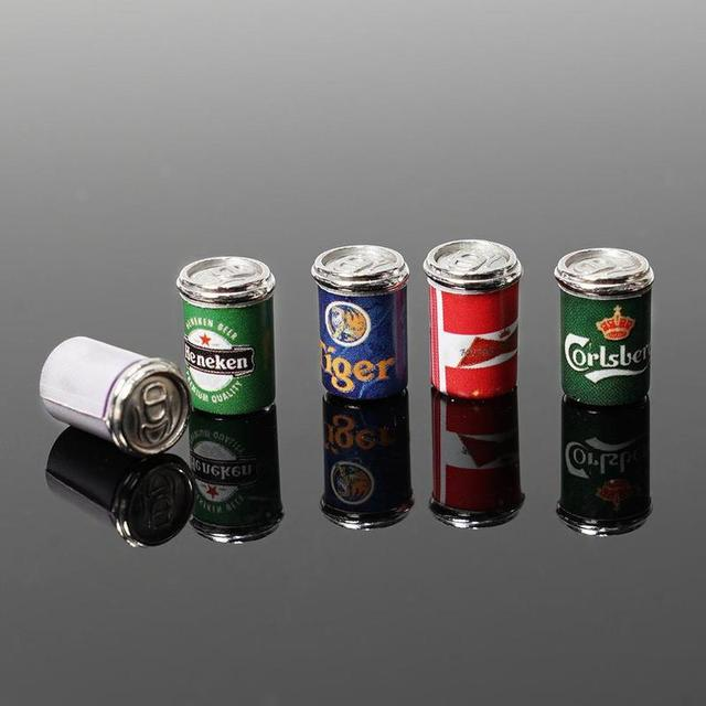 1:12 Miniature Drink Cans For Doll House 5 pcs Set