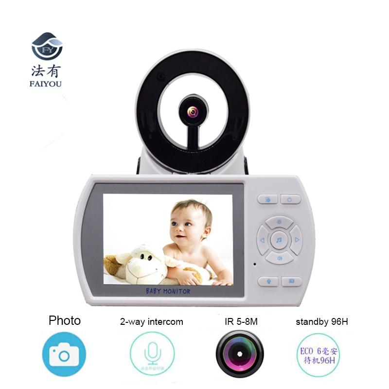 Wireless 2 4GHz 3 5inch LCD Audio Video Baby Monitor Radio Music Intercom IR font b