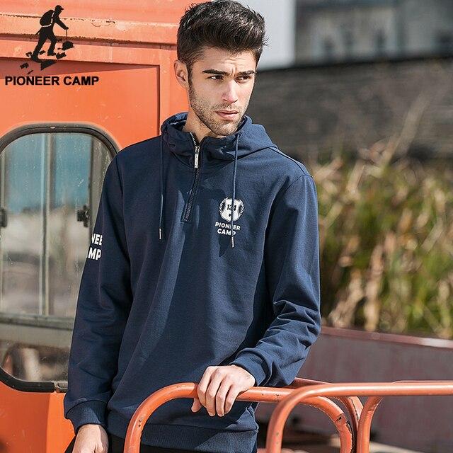 Pioneer Camp Марка 2017 Весна Синий С Капюшоном Толстовка Мужчины Новая Мода Мужские Пуловеры С Капюшоном Хлопок Повседневная Куртка С Капюшоном Мужчины 620200