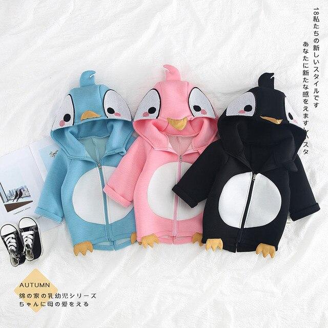 ae62a76fb cartoon penguin jacket zip coat outerwear infant toddler kid ...