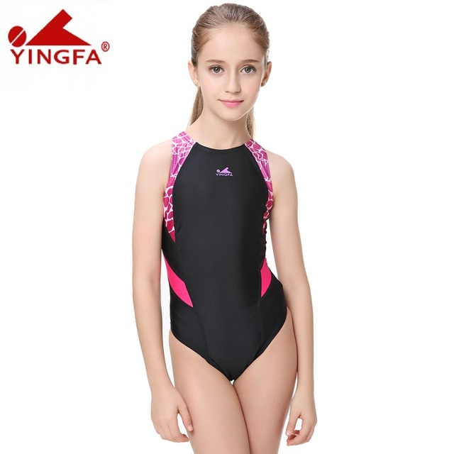 2c068b75f1a74 Yingfa Patchwork Children One Piece Swimsuits Kids Girls Swimwear Racing  Toddler Bather Bathing Suits Training Competition