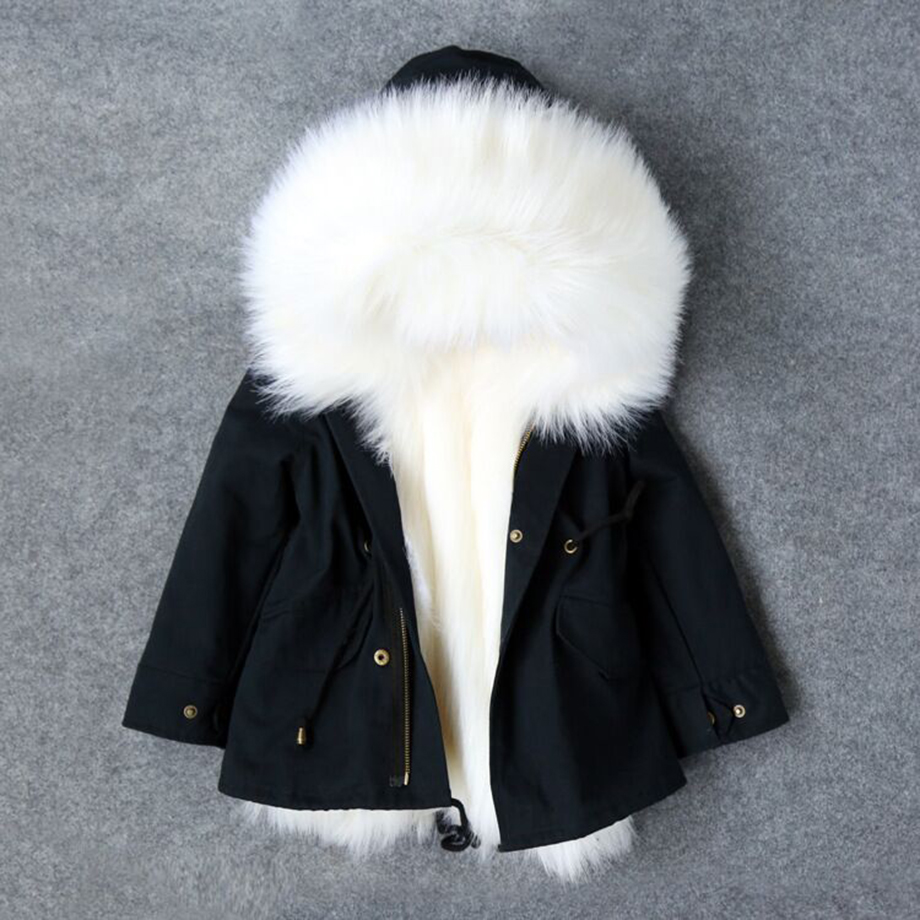 Girls Winter Coat Faux Fox Fur Liner Jackets Toddlers Children's Outerwear Baby Girl Thicken Warm Coat Parkas For Boys Coat faux fur coat