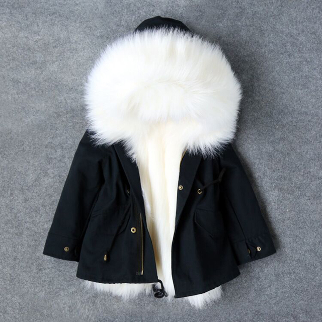 4831396d6 Girls Winter Coat Faux Fox Fur Liner Jackets Toddlers Children s ...