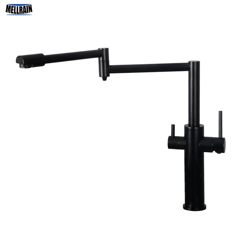 Mat Black 3 Ways Kitchen Faucet Quality Brass Deck Mounted Kitchen Sink Water Mixer Brushed Nickel Drink Water Tap