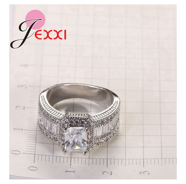 Jemmin New Arrival Women Girl Best Gifts 925 Sterling Silver Clear Square Crystal Pendant Ring for Women Bridal Jewelry