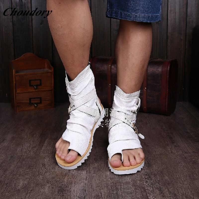 ФОТО Rome Style White/Black Men Sandals Buckle Strap Summer Gladiator Sandals Men Leisure Open Toe Non-slip Mens Fisherman Sandals