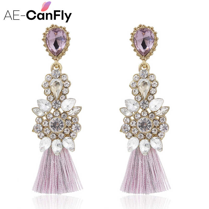 AE-CANFLY Full Rhinestone Long Thread Tassel Earrings Temperament oorbellen Big Statement Earring Fashion Jewelry EX551