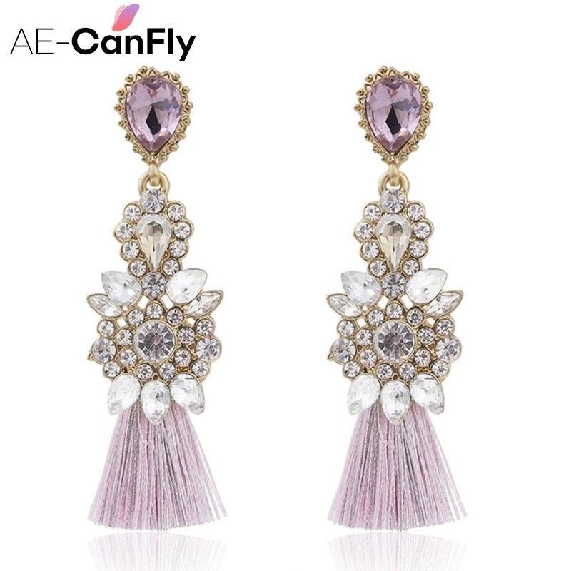 AE-CANFLY Full Rhinestone Long Thread Tassel Earrings Temperament oorbellen Big Statement Earring Fashion Jewelry 2A3014