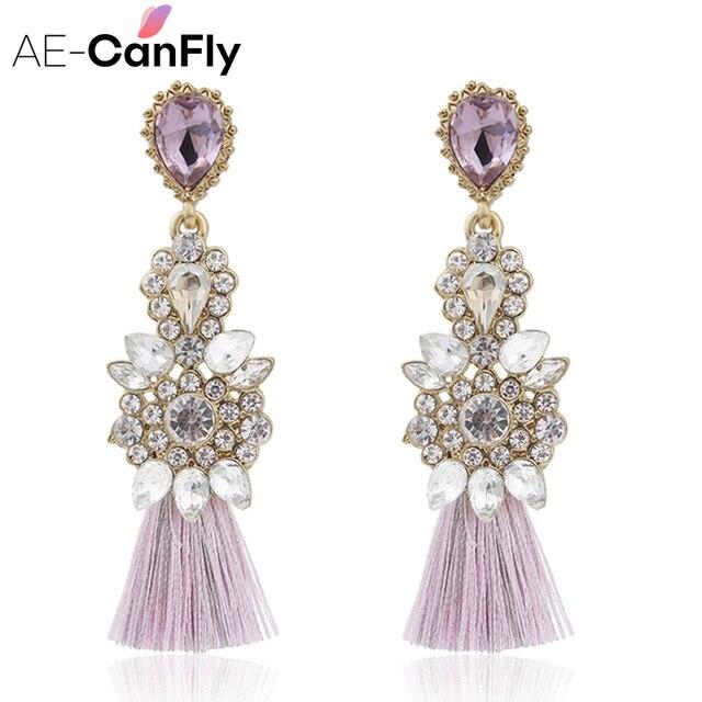 AE-CANFLY Full Rhinestone Long Thread Tassel Earrings Temperament oorbellen Big