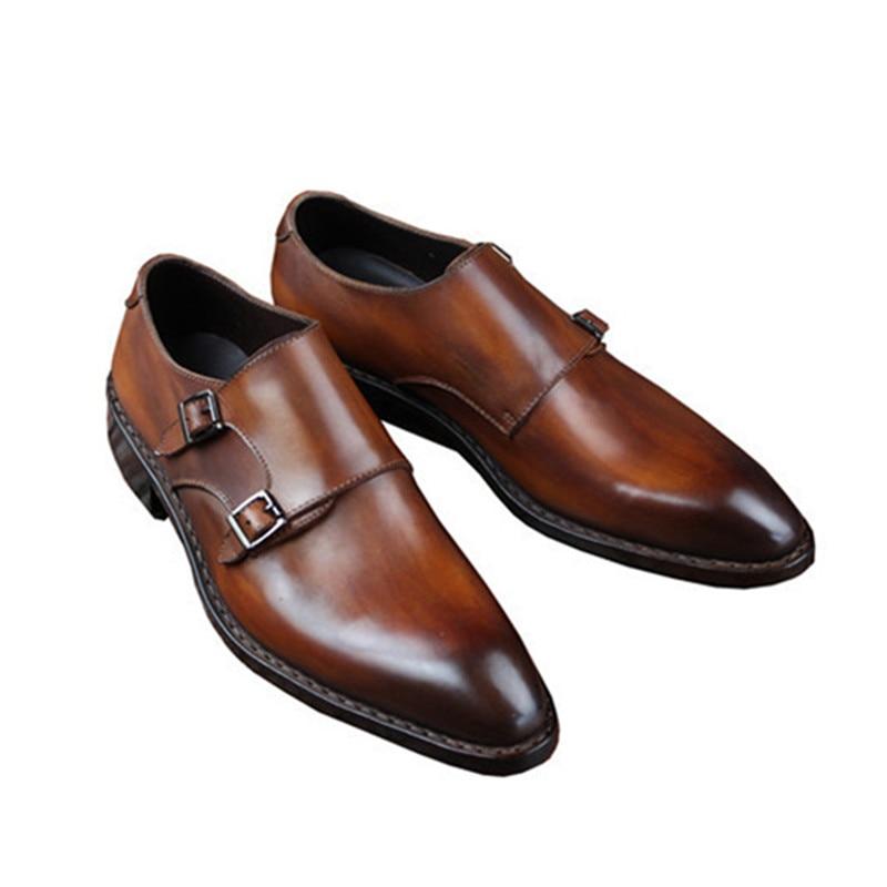 Goodyear Welted Klasik Kulit Asli Ganda Gesper Buatan Tangan pria - Sepatu Pria - Foto 4