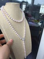 Великолепная AAA 8.5 9 ММ AKOYA круглый белый жемчужное ожерелье 40 дюймов серебро