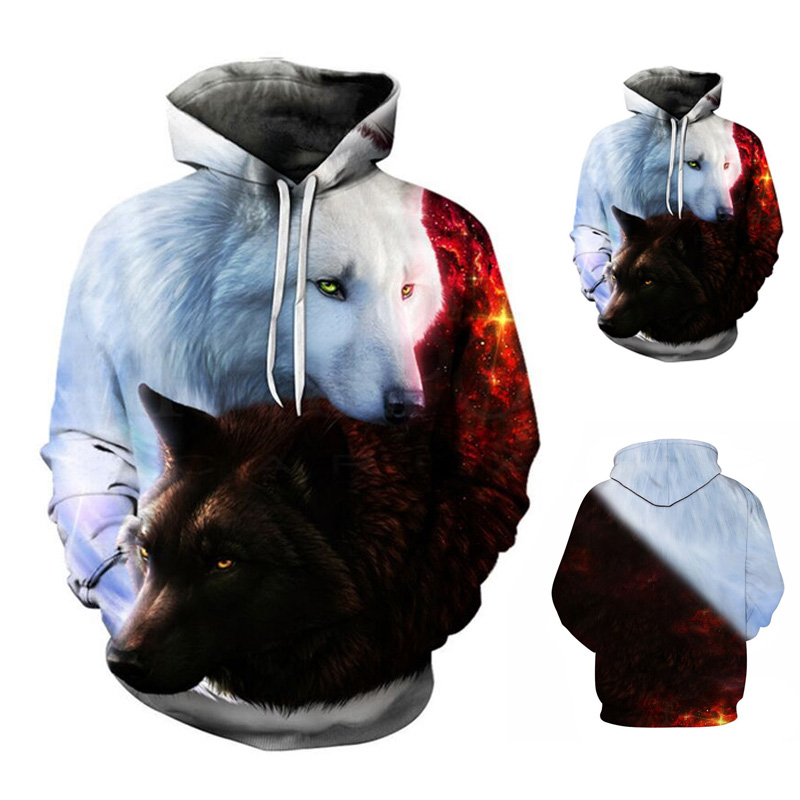 Men Spring Wolf Print Hoodies Long Sleeves Pockets Pullover Loose Casual Tops FS99