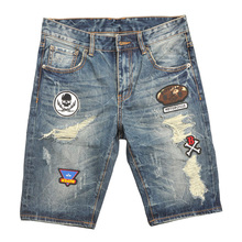 Summer Style Men Jeans Shorts Badges Spliced Destroyed Ripped Jeans Men Shorts Fashion Street Short Jeans Men Full Size 30-40 men destroyed jeans