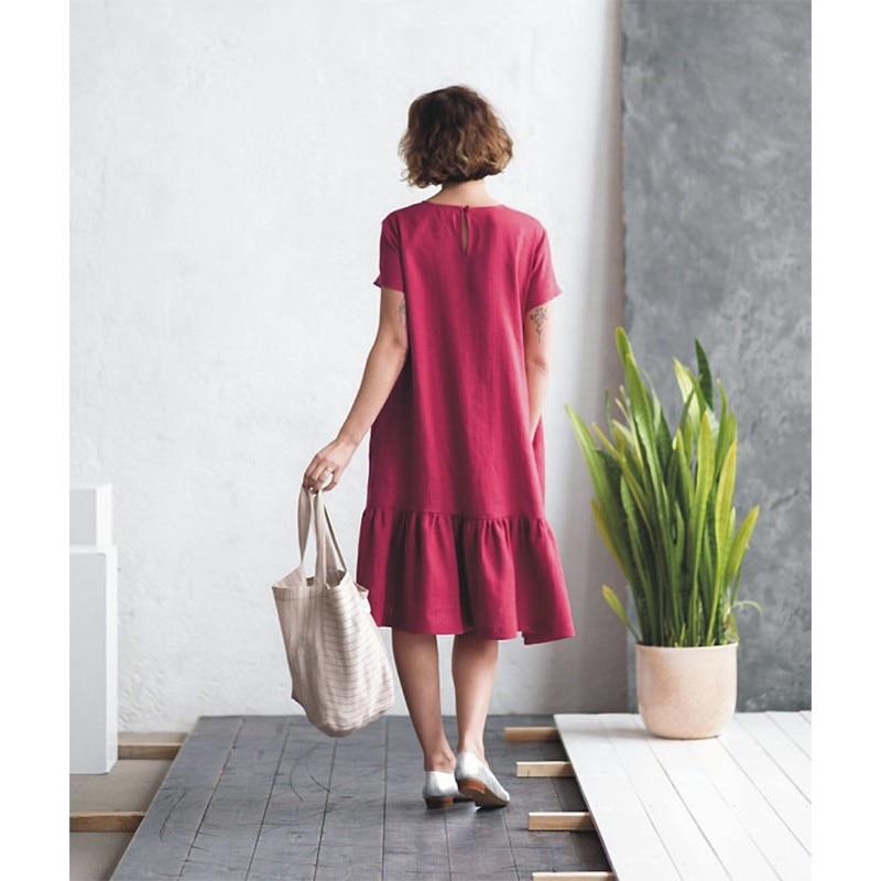 LinenAll originele vrouwen 100% linnen korte mouwen Franse vrouwen jurk met O hals EEN losse comfortabele koele jurk gewaad - 5