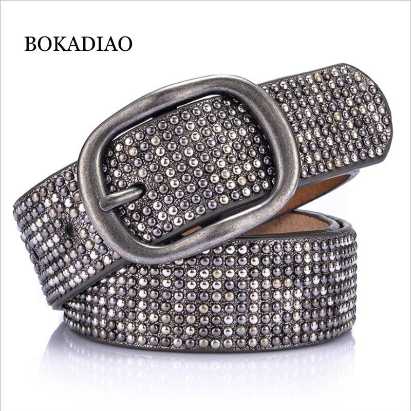 BOKADIAO women   belt   punk Pin buckle Vintage geometry Rivets luxury lady's original leather   belts   for woman waistband female   belt