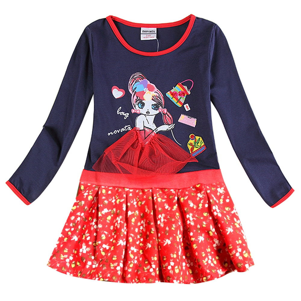 Girls long-sleeved dress embroidered cotton spring and autumn new 2~8 years old children for girls dresses H6281Y