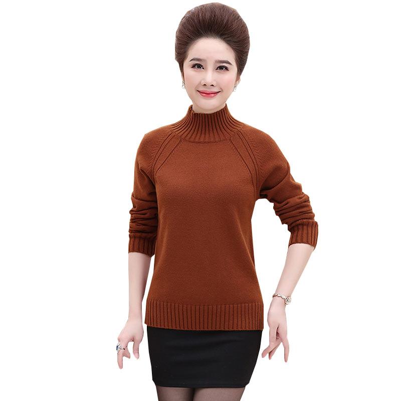 2018 printemps automne femmes d'âge moyen mère vêtements chandail âgé col roulé épais tricot femme loisirs pull WZ470