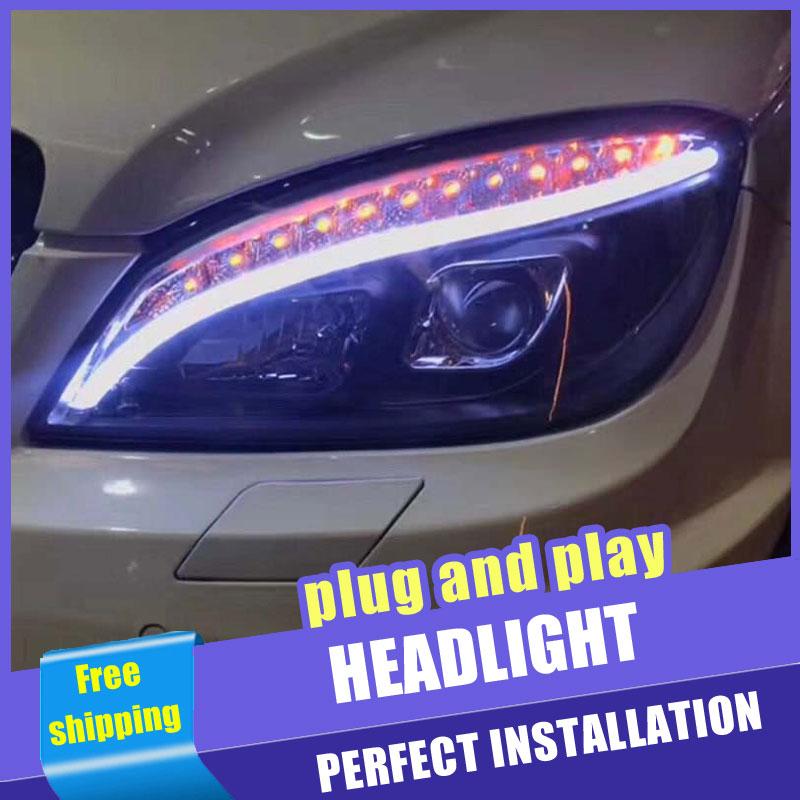 2PCS Car Style LED headlights for Benz W204 2007 2010 for W204 head lamp LED Lens