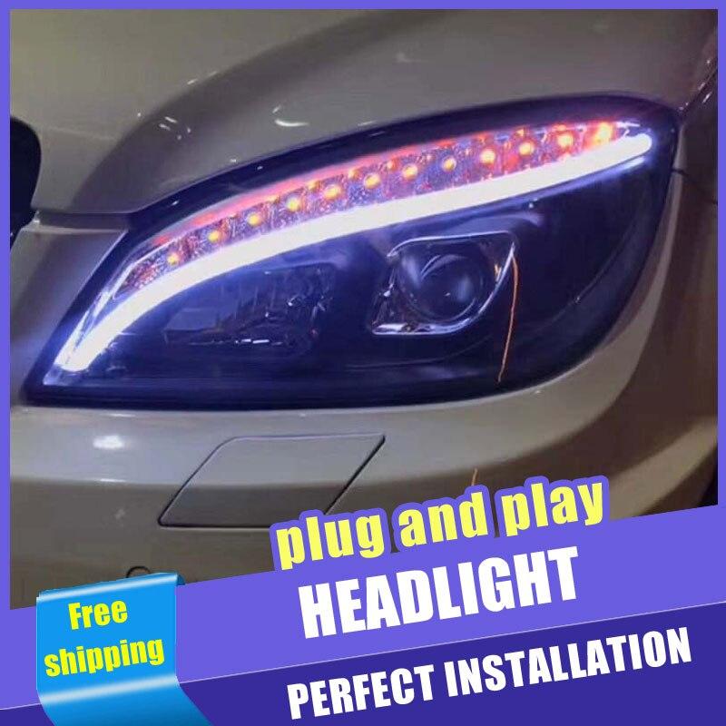 2 pçs estilo do carro faróis led para benz w204 2007-2011 para w204 lâmpada de cabeça lente led feixe duplo h7 hid xenon bi xenon lente