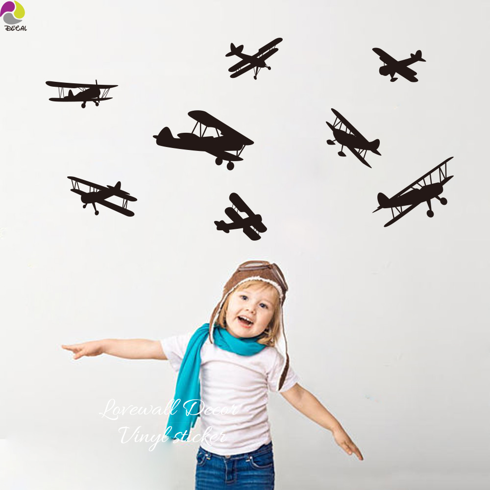 Cartoon Airplane Wall Sticker Baby Nursery Bedroom Fighter Planes Wall Decal Kids Room Living Room Aircraft Vinyl Home Decor image