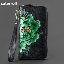 2019 new female wallet genuine leather women wallets luxury brand clutch purse long floral ladies wallets and purses