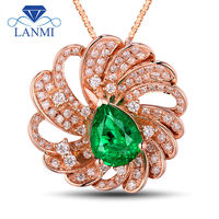 Flower Natural Stone Pendant Diamond Emerald Pear 7x9 5mm 18Kt Rose Gold WU266