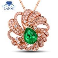 Ювелирное изделие в форме цветка дизайн Твердый 18kt розовое золото Коламбия Изумрудный красивый бриллиант кулон ожерелье для женщин Свадеб