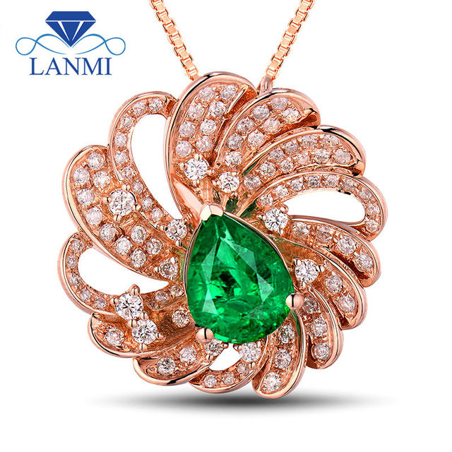 Flower Shape Jewelry Design Solid 18kt Rose Gold Columbia Emerald Pretty Diamond Pendant Necklace for Women Wedding Party