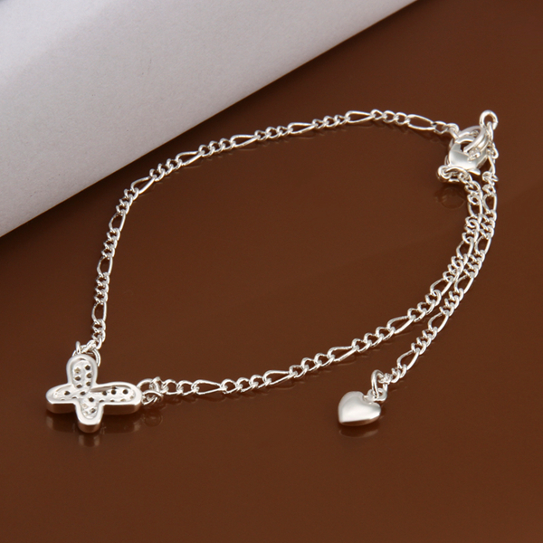 Wholesale Butterfly Shape 925 jewelry silver plated Anklets Fashion Jewelry hanging Zircon inlaid stone Anklets JL-A008