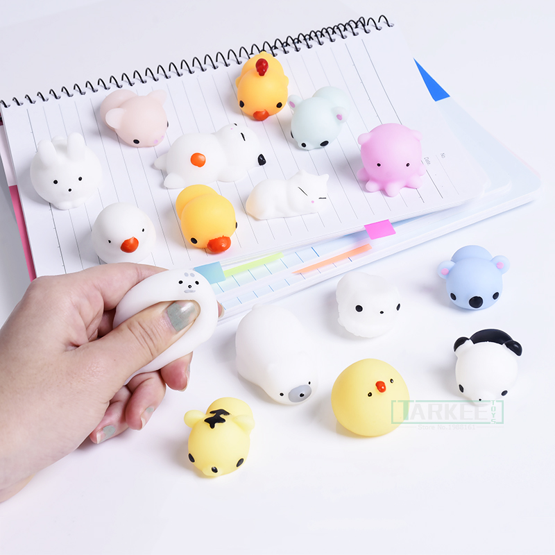 Funny Mini Squeeze Toys Soft Silicone Hand Squishy Animals Cat Kawaii doll Rubber Squish Antistress Joke Rising Toy Xmas Gift