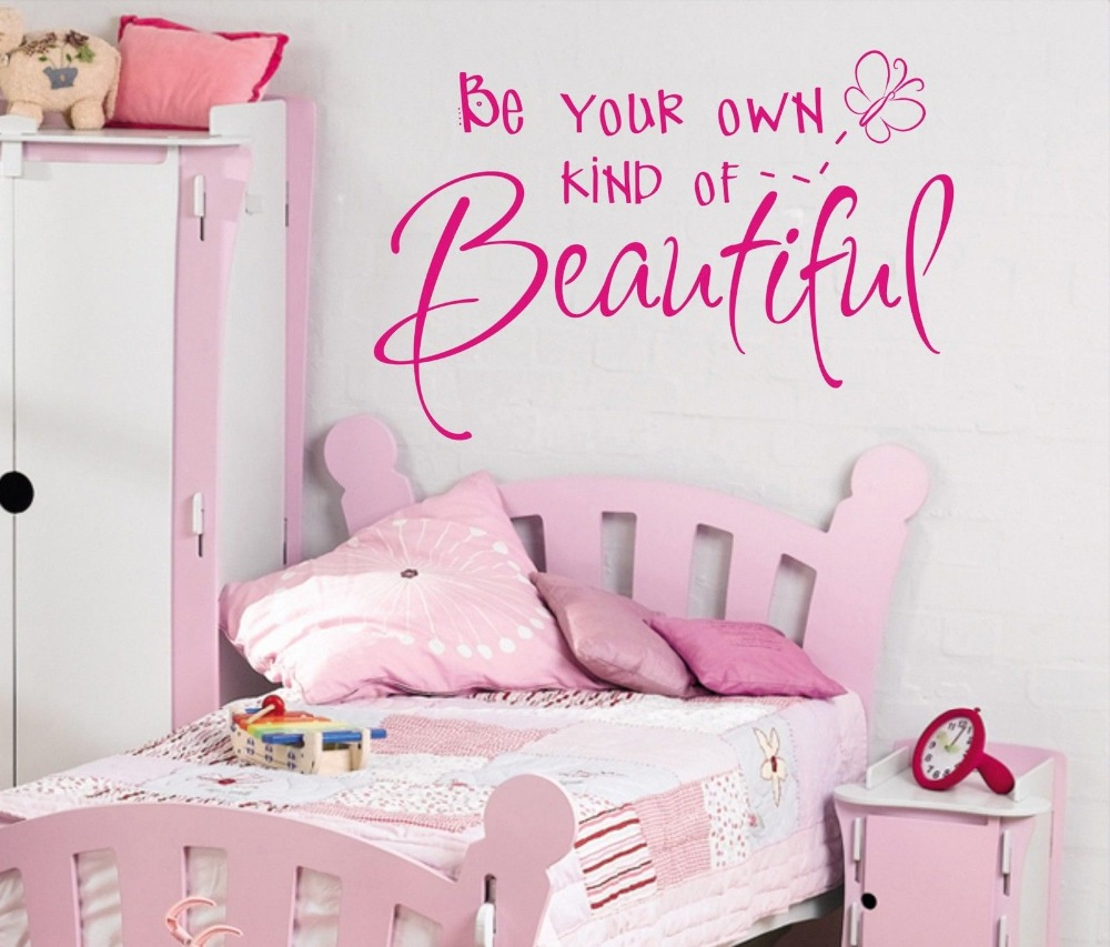 Be your own kind of Beautiful Girls wall art sticker quote Children bedroom Wall Decals 3 sizes