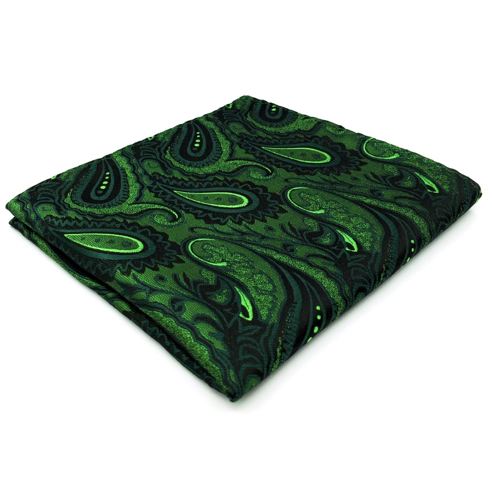 Paisley Green Black Handkerchief Pocket Square Silk Big Size Wedding