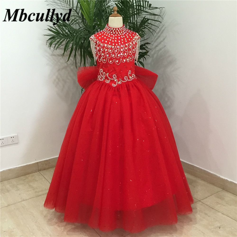 Flower     Girl     Dress   For Wedding Party 2019 Summer   Girl     Dress   Formal Princess First Communion   Dresses   High Neck Red vestido comun